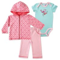 BabyVision® Hudson Baby® Size 0-3M 3-Piece Bird Bodysuit, Hoodie, and Pant Set in Pink