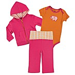 BabyVision® Yoga Sprout Size 0-3M 3-Piece Elephant Bodysuit, Hoodie, and Pant Set in Pink/Orange