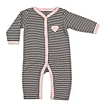 BabyVision® Hudson Baby® Size 6-9M Striped Ruffle Coverall in Black/Pink