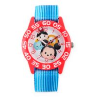 Disney® Mickey and Friends 32mm Red Plastic Watch with Blue Nylon Strap