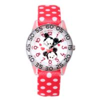 Disney® Mickey and Minnie Mouse 32mm Plastic Watch with Red/White Polka Dot Strap