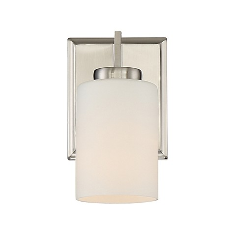 Quoizel taylor 1 light bathroom wall sconce in brushed nickel bed bath beyond for Bathroom wall sconces brushed nickel