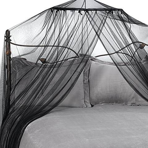 Siam bed canopy and mosquito net in black bed bath beyond for Bed with mosquito net decoration