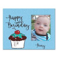 "Pied Piper Creative ""Happy Birthday"" Cupcake Canvas Wall Art in Blue"