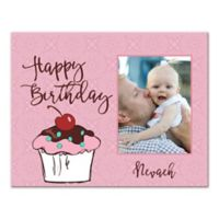 "Pied Piper Creative ""Happy Birthday"" Cupcake Canvas Wall Art in Pink"