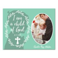 """Pied Piper Creative """"I am a Child of God"""" Baptism Canvas Wall Art in Mint Green"""