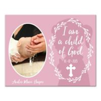 """Pied Piper Creative """"I am a Child of God"""" Baptism Canvas Wall Art in Pink"""