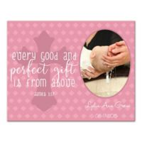 """14-Inch x 11-Inch Children's """"Every Good Gift"""" Cross Religious Canvas Wall Art in Pink"""
