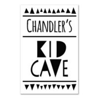 "16-Inch x 20-Inch Children's ""KID CAVE"" Canvas Wall Art in White/Black"