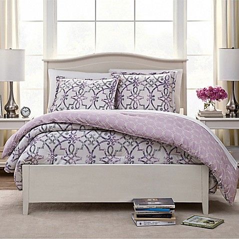 Watercolor Trellis Reversible Comforter Set Bed Bath