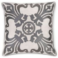 Aura Royal Crown Embroidered 20-Inch Square Throw Pillow in Ivory