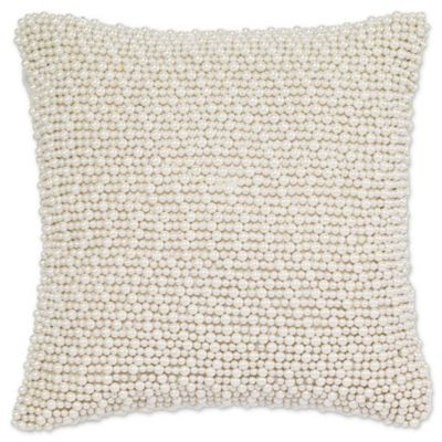 Perfect Aura Pearl Square Throw Pillow In White