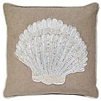 Aura Chambray Seashell Throw Pillow in Natural/White