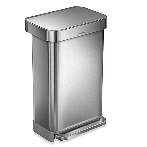 Simplehuman 174 45 Liter Rectangular Liner Rim Step Trash Can With Liner