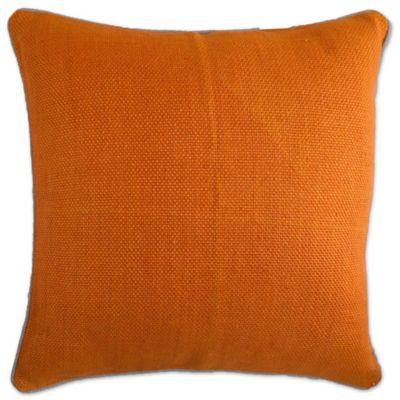 aura basket weave square throw pillow in orange