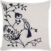 Aura Birds of Paradise Crochet 20-Inch Square Throw Pillow in White/Navy