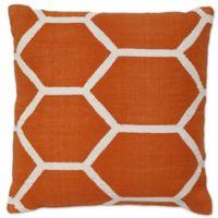 Aura Woven Hexagons 20-Inch Square Throw Pillow in Orange/White