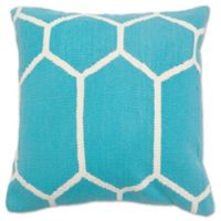 Aura Woven Hexagons 20-Inch Square Throw Pillow in Turquoise/White