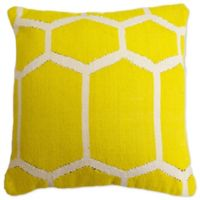 Aura Woven Hexagons 20-Inch Square Throw Pillow in Yellow/White
