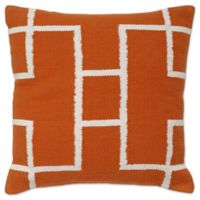 Aura Woven Rectangles 20-Inch Square Throw Pillow in Orange/White