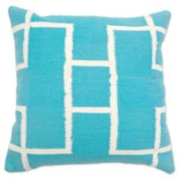 Aura Woven Rectangles 20-Inch Square Throw Pillow in Turquoise/White