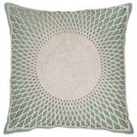 Aura Hair on Hide Square Throw Pillow in Turquoise