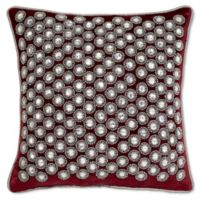 Aura Square Throw Pillow in Burgundy