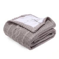 Berkshire Blanket Sweaterknit Reversible Faux Fur Tipped Throw Blanket in Grey