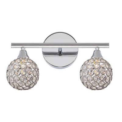 Buy crystal vanity lighting for bathroom from bed bath beyond quoizel platinum shimmer 2 light led bath fixture in polished chrome mozeypictures Gallery