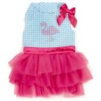 Zack and Zoey Size S Sparkle Flamingo Dress in Turquoise/White