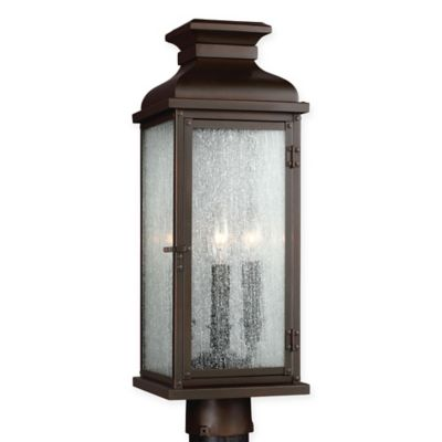 Buy aged copper outdoor lighting from bed bath beyond feiss pediment 3 light post mount outdoor light in dark aged copper workwithnaturefo
