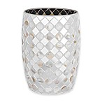 J. Queen New York™ Mirror Mosaic Wastebasket in White
