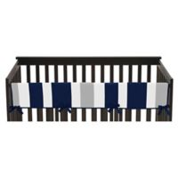 Sweet Jojo Designs Long Crib Rail Guard Covers in Navy/Grey Stripe