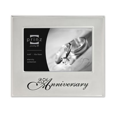 prinz 6 inch x 4 inch 50th wedding anniversary picture frame in silver