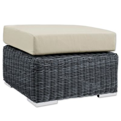 modway summon outdoor ottoman in sunbrella canvas antique beige