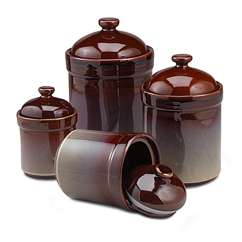 brown kitchen canister sets brown canisters set of 4 bed bath amp beyond 16503