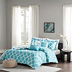 Madison Park Merritt Reversible King/California King Duvet Cover Set in Aqua