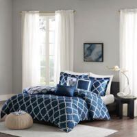 Madison Park Merritt Reversible Full/Queen Duvet Cover Set in Navy