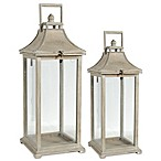 A&B Home Set of 2 Lanterns in Tan