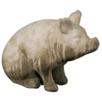 A&B Home Wilbur Pig Sitting Accent Garden Statue Grey/Green