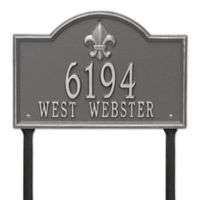 Whitehall Products Bayou Vista Standard Lawn House Numbers Plaque in Pewter Silver