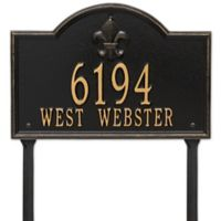 Whitehall Products Bayou Vista Standard Lawn House Numbers Plaque in Black/Gold