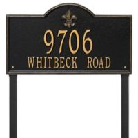 Whitehall Products Bayou Vista Double Line Estate Lawn Plaque in Black/Gold