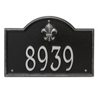 Whitehall Products Bayou Vista Standard 1-Line House Numbers Plaque in Black/Silver