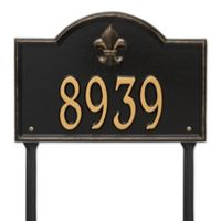 Whitehall Products Bayou Vista Single Line Standard Lawn Plaque in Black/Gold