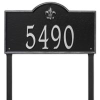 Whitehall Products Bayou Vista Estate Lawn House Numbers Plaque in Black/Silver