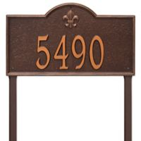 Whitehall Products Bayou Vista Estate Lawn House Numbers Plaque in Antique Copper