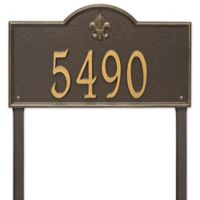 Whitehall Products Bayou Vista Estate Lawn House Numbers Plaque in Bronze/Gold