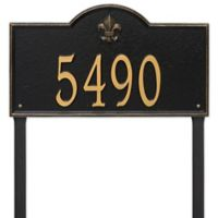 Whitehall Products Bayou Vista Estate Lawn House Numbers Plaque in Black/Gold
