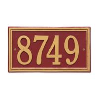 Whitehall Products Double-Line House Numbers Plaque in Red/Gold